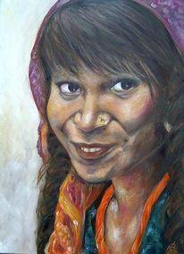 Portrait, Indien, Frau, Ölmalerei