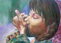 Portrait, Ölmalerei, Frau, Indien