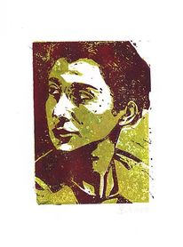 Portrait, Druck, Linol, Linolschnitt