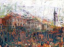Stadt, Ölmalerei, Haus, Malerei