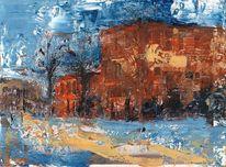 Gebäude, Haus, Ölmalerei, Malerei