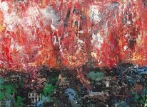 Feuer, Licht, Stadt, Ölmalerei