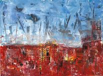 Ölmalerei, Haus, Gebäude, Licht
