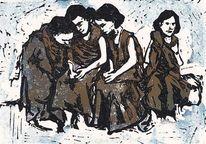Mädchen, Gruppe, Linolschnitt, Mehrfarbdruck