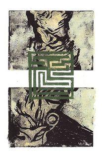 Mehrfarbdruck, Abstrakt, Linol, Druckgrafik