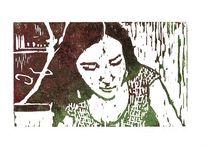 Lesen, Frau, Linol, Portrait