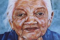 Frau, Portrait, Alter, Ölmalerei