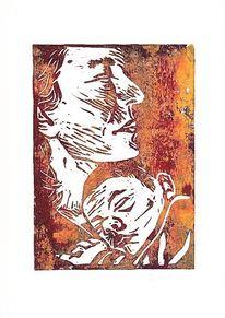 Linol, Portrait, Druck, Linolschnitt