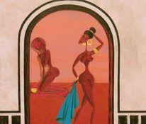 Akt, Acrylmalerei, Frau, Hamam