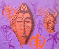 Acrylmalerei, Maske, Afrika, Malerei