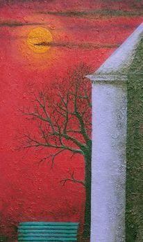 Mond, Mondlicht, Acrylmalerei, Malerei