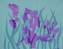 Unterwasserwelt, Tiere, Seepferdchen, Malerei