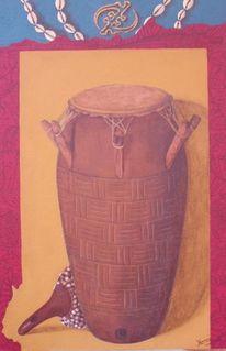 Acrylmalerei, Trommel, Afrika, Malerei