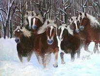 Tiere, Pferde, Ölmalerei, Schnee