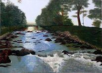 Wasser, Landschaft, Ölmalerei, Malerei