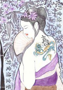 Mischtechnik, Geisha, Zeichnungen, Abstrakt
