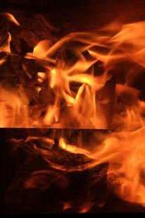 Doppelbelichtung, Feuer, Wesen, Fotografie