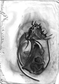 Alptraum, Zeichnung, Kohlezeichnung, Traum