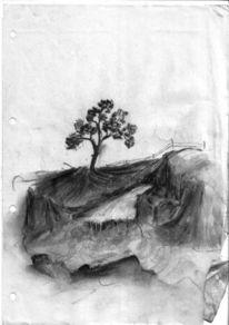 Zeichnung, Kohlezeichnung, Malerei