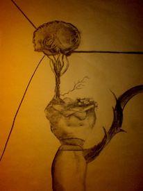 Zeichnung, Alptraum, Traum, Kohlezeichnung