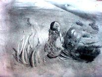 Zeichnung, Kohlezeichnung, Traum, Malerei