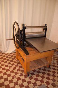 Kupferdruckpresse, Holzschnitt, Planschrank, Tiefdruck