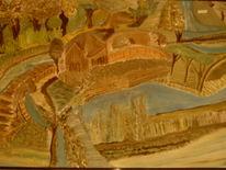 Ölmalerei, Baum, Haus, Farben