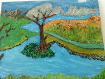 Acrylmalerei, Baum, Berge, Wolken