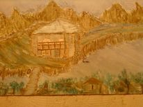 Brücke, Berge haus, Ölmalerei, Malerei