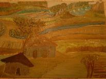 Farben, Baum, Haus, Malerei