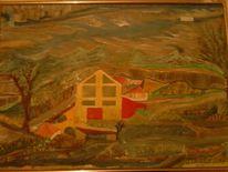 Baum, Acrylmalerei, Landschaft, Haus