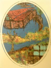 Baum, Haus, Wald, Blumen