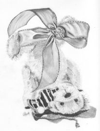 Bleistiftzeichnung, Teddybär, Schleife, Zeichnungen