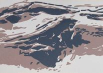 Linolschnitt, Druckgrafik, Gletscher