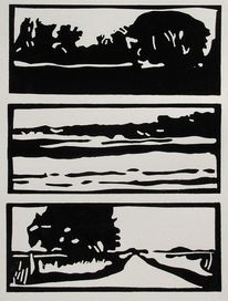 Linoldruck, Linolschnitt, Druckgrafik, Landschaft