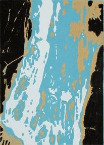 Linolschnitt, Druckgrafik, Wasserfall