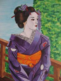 Zeichnungen, Violett, Geisha