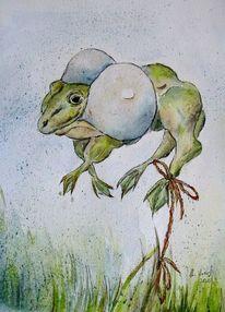 Karikatur, Frosch, Comic, Tierkarikatur