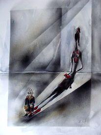 Karikatur, Aquarell, Schatten