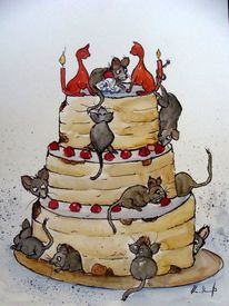 Tierkarikatur, Karikatur, Tierkarikaturen, Geburtstagstorte
