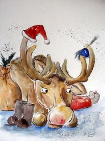 Karikatur, Tier karikatur, Weihnachten, Elch