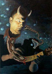 Teufel, Ölmalerei, Gitarre, Musik