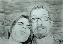 Portrait, Grimasse, Zeichnung, Comic