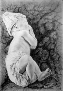 Traum, Portrait, Bleistiftzeichnung, Kind