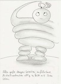 Michelinmännchenmalerei, Zeichnungen, Neugier, Leben