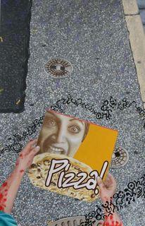 Pizzaverpackung, Malerei, Acrylmalerei, Kleine blaue wesen