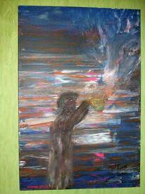 Malerei, Abstrakt, Kuh