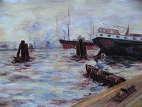 Rudern, Acrylmalerei, Hafen, Malerei