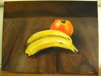 Obst, Stillleben, Bananen apfel, Malerei