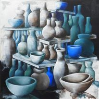 Stillleben, Vasen und schalen, Malerei